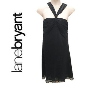 Lane Bryant Size 18 Black Cocktail Dress Midi Plus
